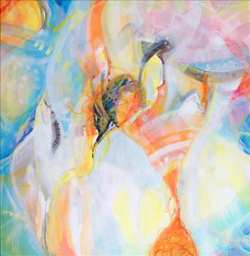 """""""Čas"""", 95 x 90 cm, akryl na platně, r. 2017"""